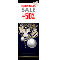 christmas sale banner with snowflakes balls vector image