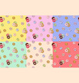 colorful donuts seamless pattern cartoon cute vector image