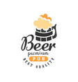 creative emblem with mug of beer with foam vector image vector image