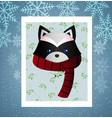 cute raccoon in a scarf vector image