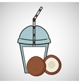 delicious juice fruit coconut and cup cover straw vector image
