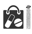 drugs shopping bag icon with work bonus vector image