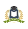 Education icon emblem for university college vector image