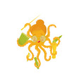 flat icon of cute octopus teacher in vector image