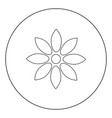 flower black icon in circle isolated vector image