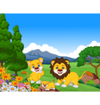 funny lion cartoon family in the jungle vector image vector image