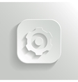 Gear icon - white app button vector image vector image