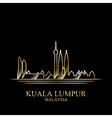 Gold silhouette of Kuala Lumpur on black vector image vector image