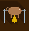 grilled pig icon of roasted piglet on white vector image vector image