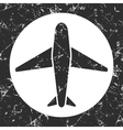 grunge gray circle icon - airplane vector image vector image