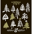 Hand drawn grunge Christmas trees Ink painting vector image vector image
