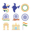 happy independence day india map flag landmark vector image