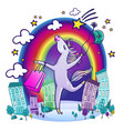 happy unicorn with shopping vector image vector image