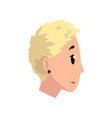 head of girl with short blonde hair profile of vector image vector image