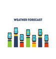 human hands holding smartphones with weather vector image