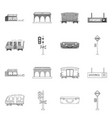 isolated object of train and station symbol vector image vector image