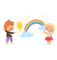 kids draw rainbow happy little artists painting vector image
