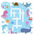 kids magazine book puzzle game of sea underwater vector image vector image