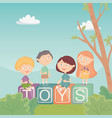 kids sitting on blocks alphabet in park toys vector image vector image