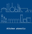 Kitchen mono line kitchen tools silhouette vector image vector image