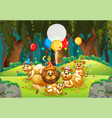 many lions in party theme in nature forest vector image