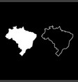 map of brazil icon set white color flat style vector image