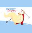 merry christmas ski santa concept banner cartoon vector image