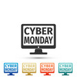 monitor with cyber monday on screen icon vector image