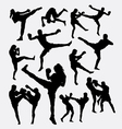Muay Thai martial art kick boxing silhouette vector image vector image