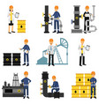 oil industry set extraction production refinery vector image vector image