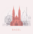 outline basel skyline with landmarks vector image
