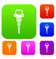 pneumatic hammer set color collection vector image vector image