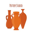 pottery studio label logo with vases amphoras vector image vector image