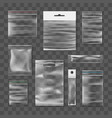 realistic transparent plastic packs vector image