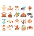 robots icon set cartoon style vector image