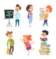 school characters male and female children go to vector image