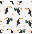 seamless pattern with tropical toucan birds and vector image vector image