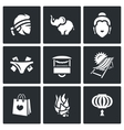 Set of Thailand Icons Muay Thai elephant vector image vector image