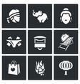 Set of Thailand Icons Muay Thai elephant vector image
