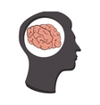 silhouette human brain thinking idea isolated vector image