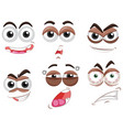 six sets of eyes with different emotions vector image vector image