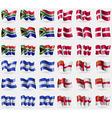 South Africa Denmark Honduras Sark Set of 36 flags vector image vector image