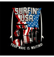 surfing usa american california surf vector image