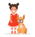 a cute little girl and dog on white background vector image vector image