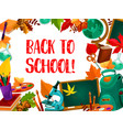 back to school poster with frame of education item vector image vector image