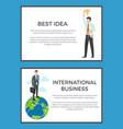 best idea international business set of banners vector image vector image