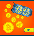 bitcoin cryptocurrency mining graphic video card vector image