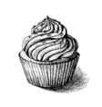 black and white sketch of cute creamy sweet vector image vector image