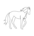 black line horse on white background icon drawn vector image vector image