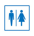 blue silhouette men and women icon in white square vector image
